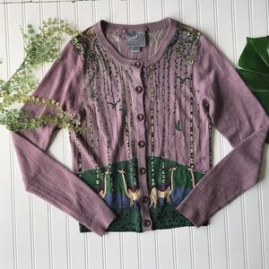 Anthropologie Sweaters - Anthropologie knitted dove deer cardigan purple